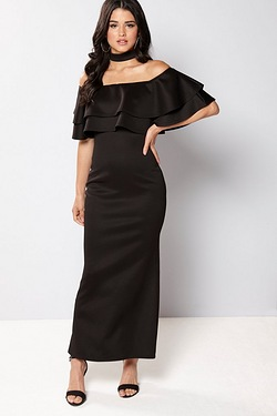 Club L Bardot Choker Double Frill Maxi Dress