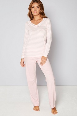 Lace Insert Stripe Pyjamas
