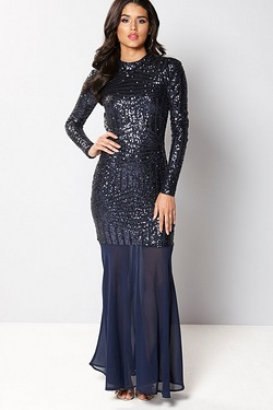 Club L High Neck Sequin Fishtail Maxi Dress