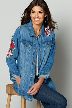 Be You Longline Embroidered Denim Jacket