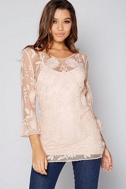 Club L Embroidered Top With Flute Sleeves
