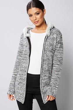 Be You Faux Fur Trim Cable Cardigan