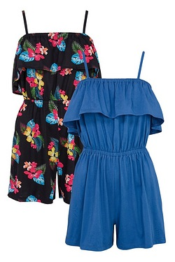 Pack Of 2 Frill Playsuits