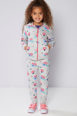 Girls Floral Printed Hoody and Jogger Tracksuit
