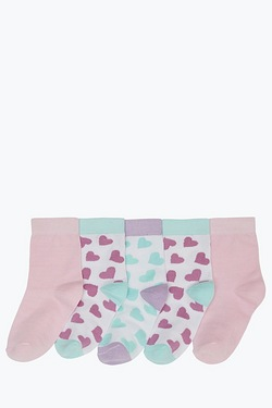 Girls Pack Of 5 Ankle Socks - Hearts