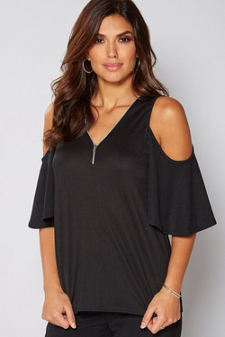 Be You Cold Shoulder Zip Front Top