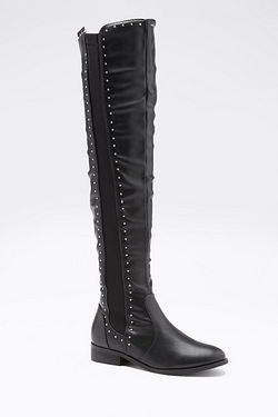 Be You Over The Knee Pin Studded Stretch Boot
