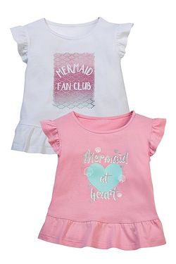 Girls Pack Of 2 Mermaid Fan Club T-Shirts