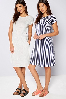 Be You Pack Of 2 Jersey Dresses - Navy Stripe/Grey Marl