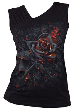 Burnt Rose Gathered Shoulder Slant Vest Top