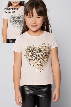 Girls Reversible Sequin Heart Top