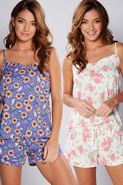 2 Pack Printed Camisole Sets - Floral