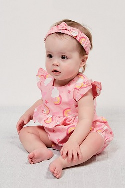 Baby Girls Romper With Pink Headband