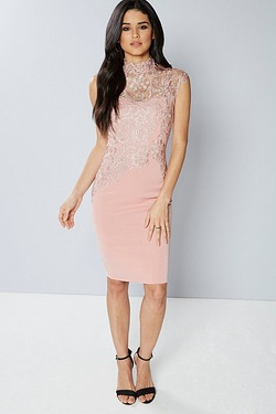 Club L High Neck Crochet Midi Dress