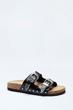 Be You Double Buckle Western Footbed Sandal