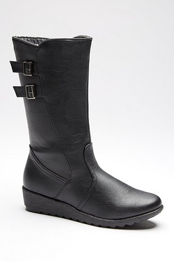 Dr Keller Double Buckle Wedge Tall Boot