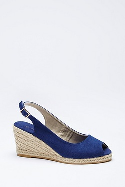 Be You Peep Toe Canvas Sling Back Wedge