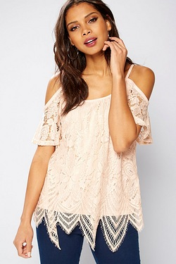 Club L Lace Cold Shoulder Top