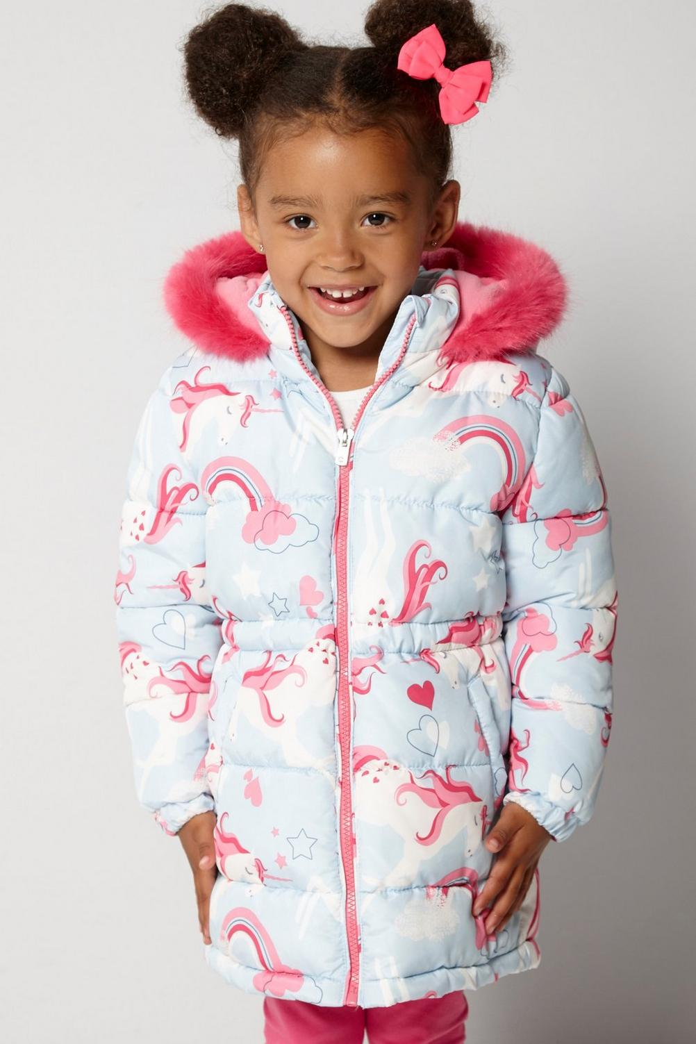 Girl wearing Unicorn Print Faux Fur Trim Parka coat