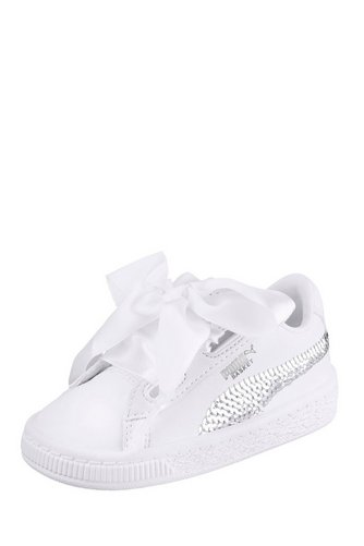 a7a101122fc1 Image for Junior Girls Puma Basket Heart Bling Wht from studio