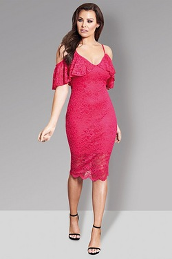 Jessica Wright Lace Cold Shoulder Dress