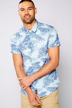 Twisted Gorilla All Over Leaf Print Short Sleeve Shirt