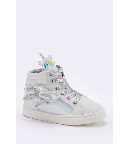 10e8721288266d Girls Unicorn High Top Trainers