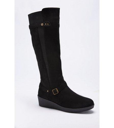 f7b417f73eb Memory Foam Comfort Stretch Tall Wedge Boots