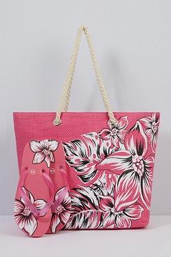 bd020a4caec Pink Floral Beach Bag and Matching Flip Flops