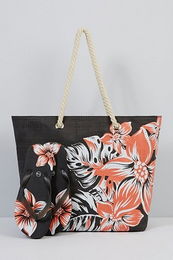 4431370ad Black Floral Beach Bag and Matching Flip Flops