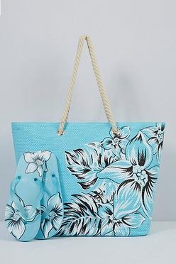 d23d70d6735 Blue Floral Beach Bag and Matching Flip Flops