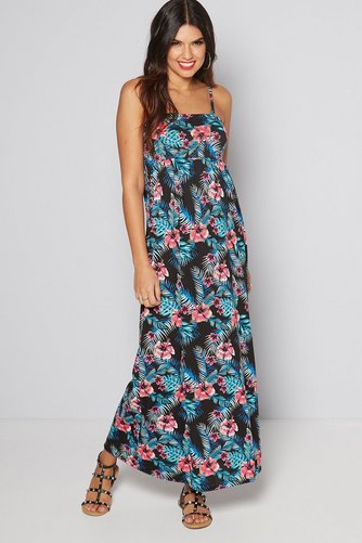 65b93210ab9 Image for Black Floral Bandeau Maxi Dress Size 16 18 from studio