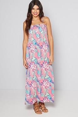 9928deb7e69 Pink Floral Bandeau Maxi Dress