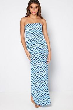 8b99ec6c2a98 Blue Zig Zag Bandeau Maxi Dress