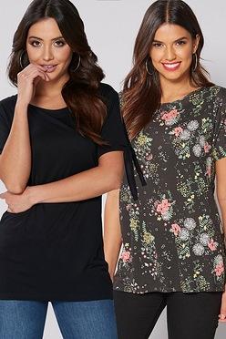e5fc465ca22f Pack of 2 Black Floral Cold Shoulder Tab Tops
