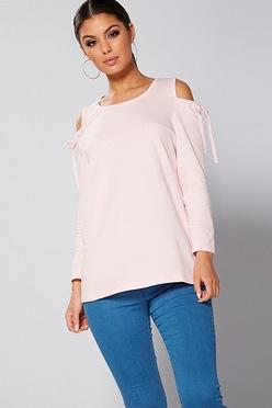 2cf77593b508 Cold Shoulder Tie Detail Sweatshirt