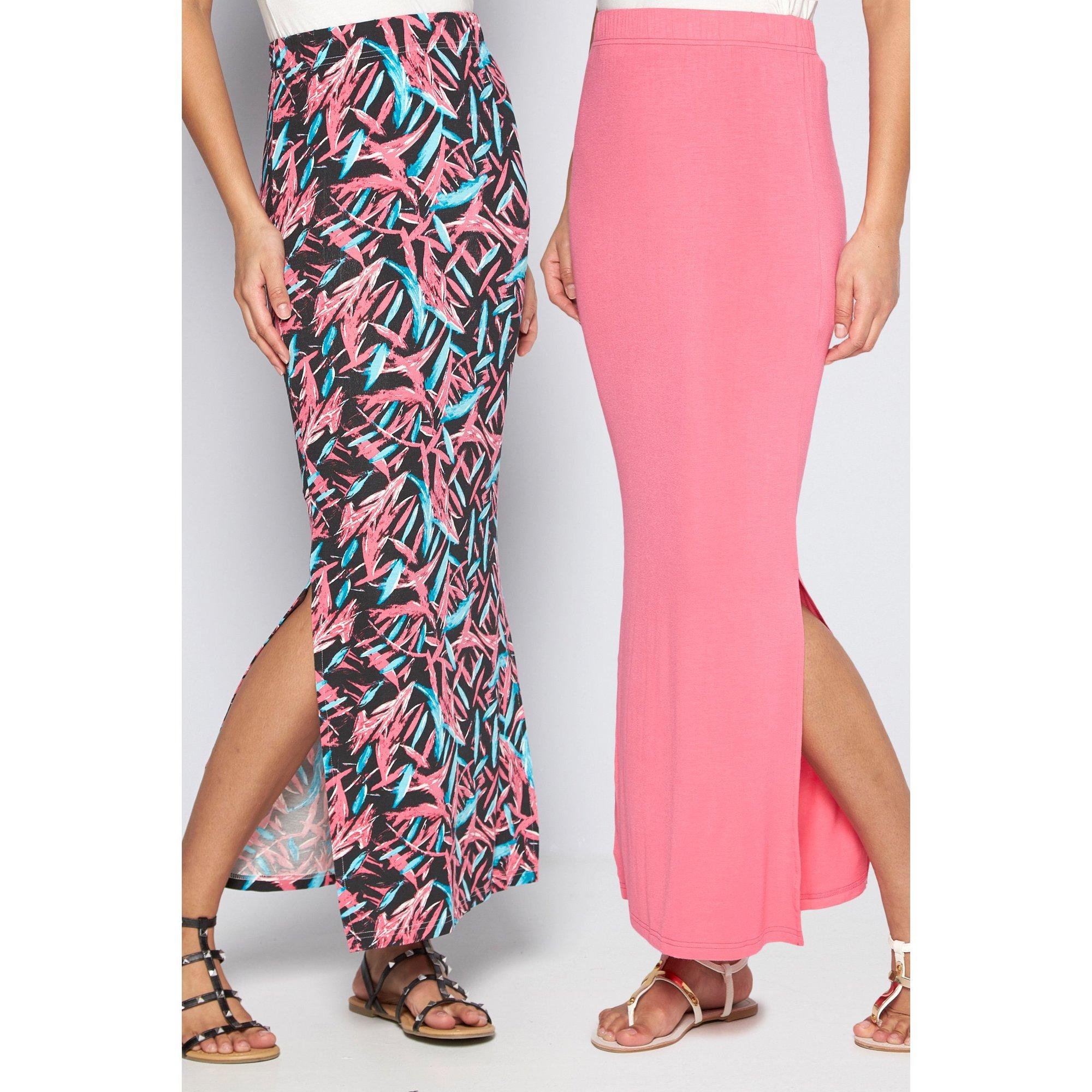 Image of Pack of 2 Leaf Print Side Split Maxi Skirts