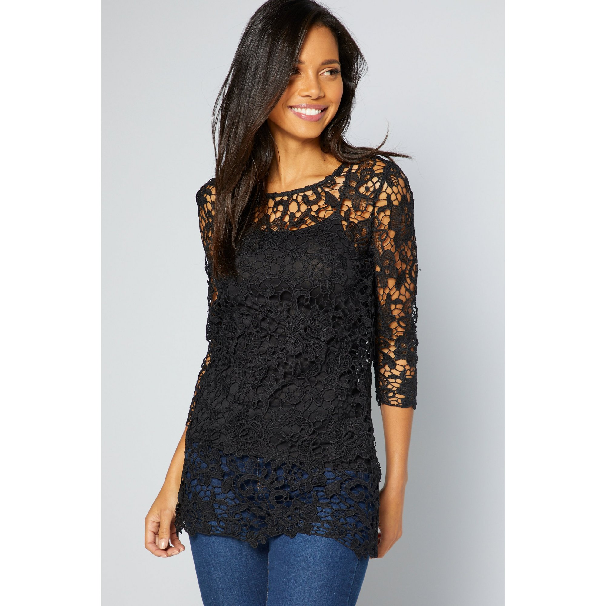Image of 3/4 Sleeve Black Crochet Lace Top