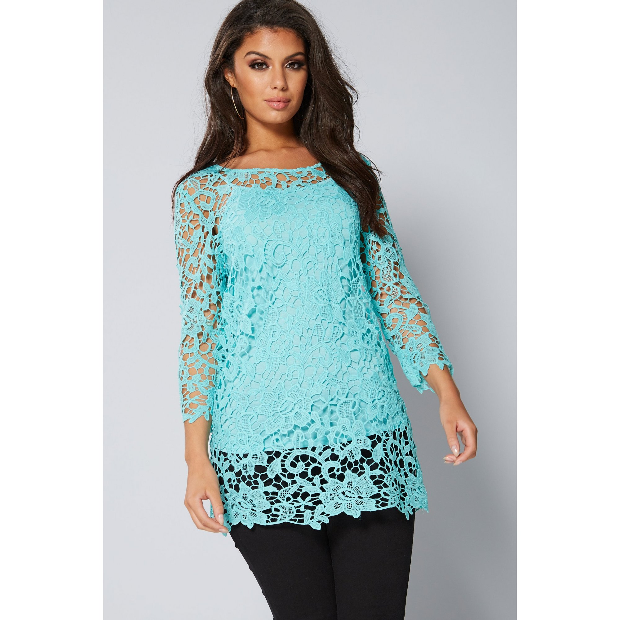 Image of 3/4 Sleeve Crochet Lace Top