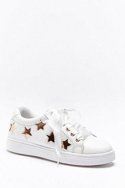 c0c85ff2db Rose Gold Star Ribbon Lace Trainer