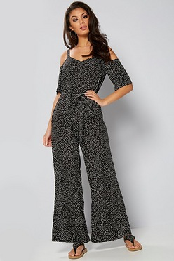 e3ba2d4d1a91 Cold Shoulder Polka Dot Wide Leg Jumpsuit