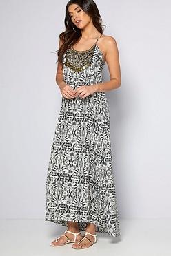 98ccf0a3cfd9 Embellished Yoke Maxi Dress