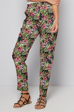 9ebba107c Black and Pink Floral Printed Woven Trousers