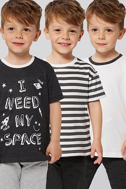 7e3813c93b14 Younger Boys Pack of 3 Slogan and Stripe T-Shirts