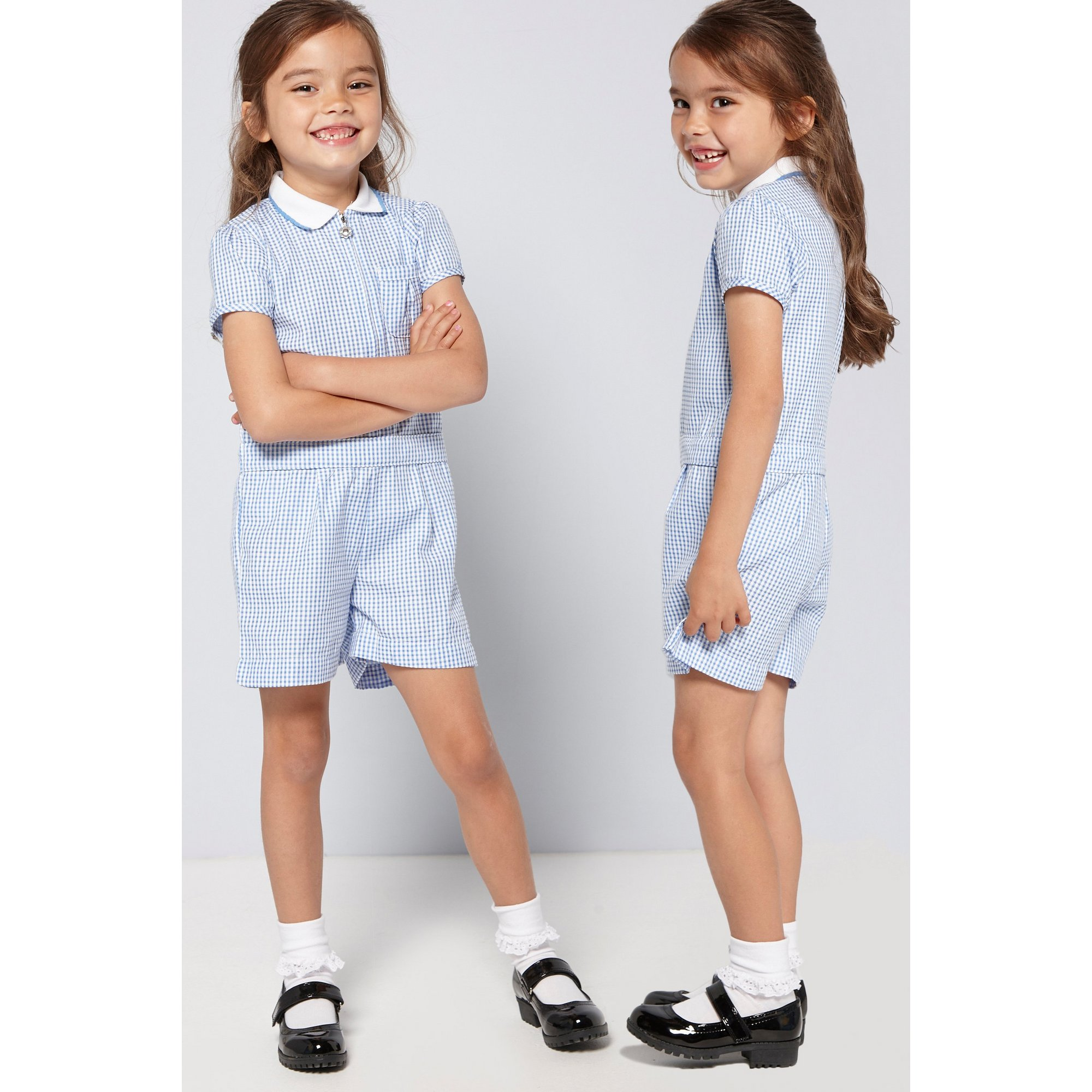 Image of Girls Pack of 2 Blue Gingham Playsuits