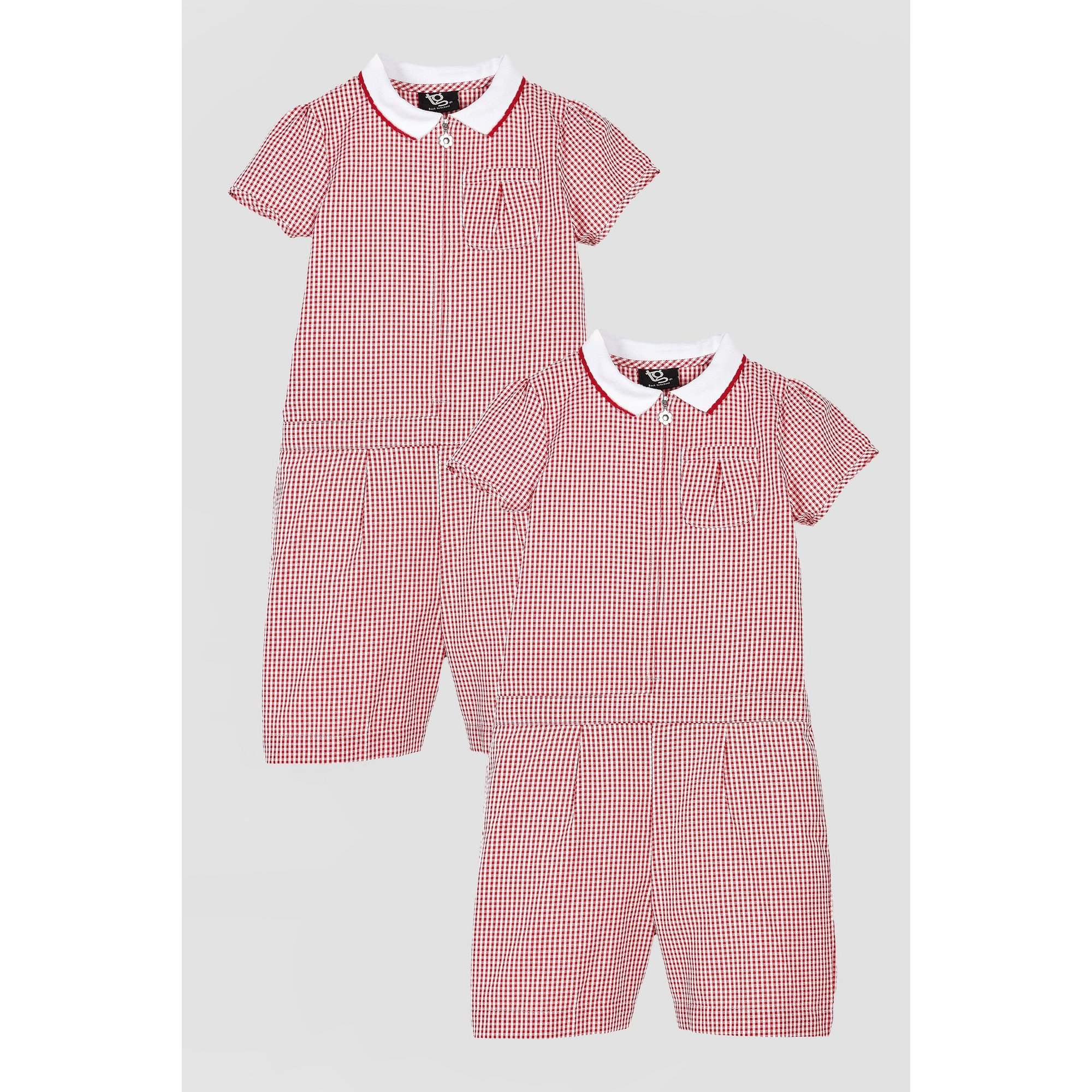 Image of Girls Pack of 2 Red Gingham Playsuits