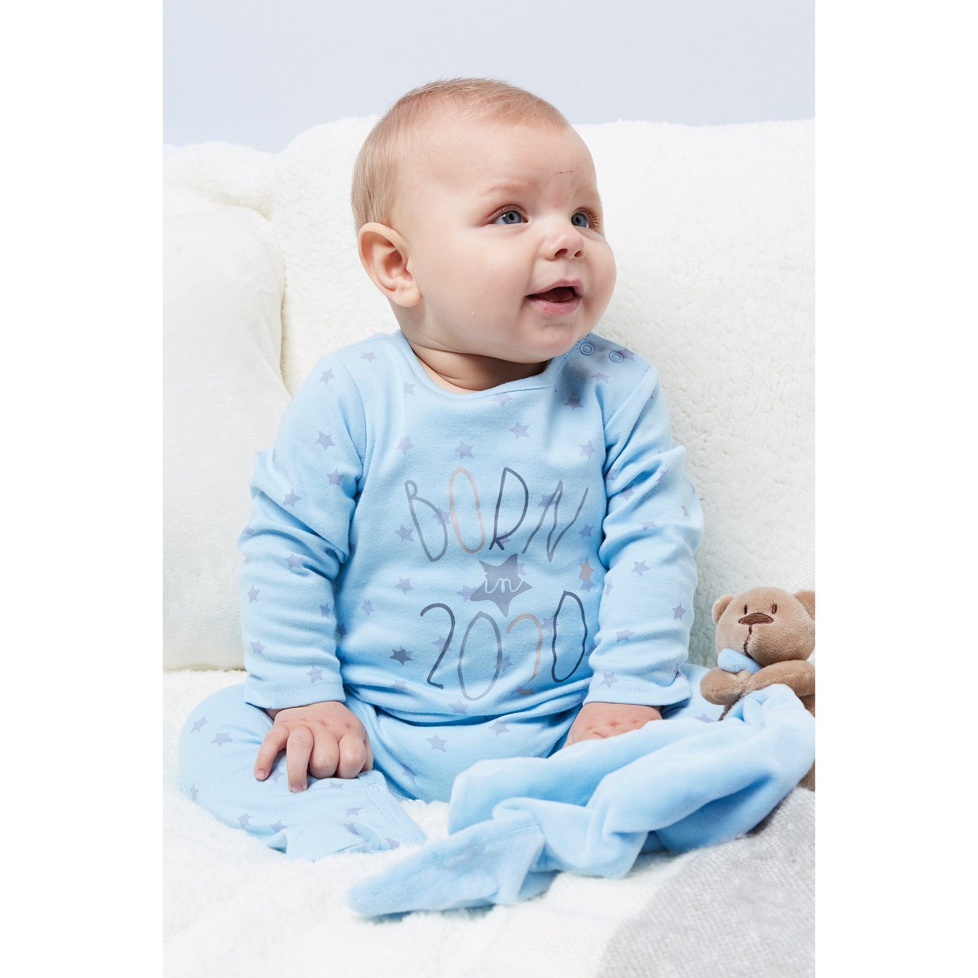 Image of Baby Born in 2020 Blue Sleepsuit with Comforter
