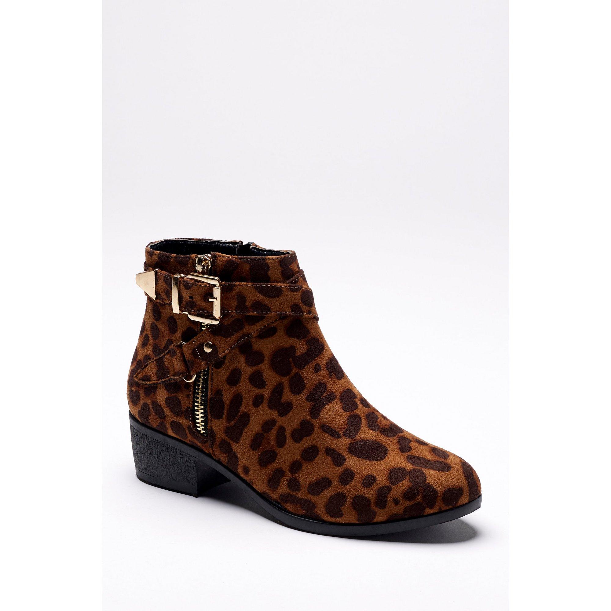 Image of Block Heel Western Leopard Print Boots