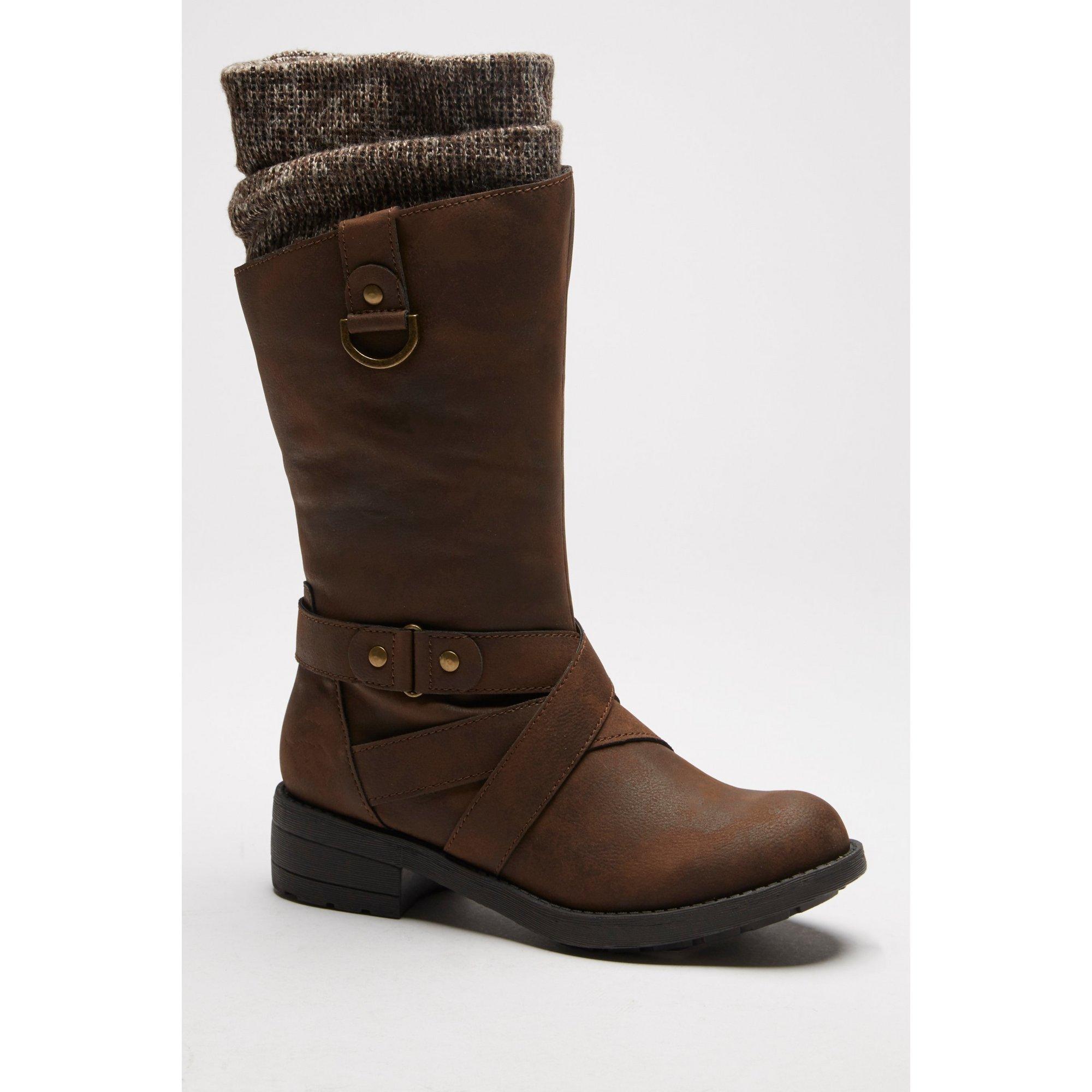 Rocket Dog Telsa Knitted Collar Brown Boots
