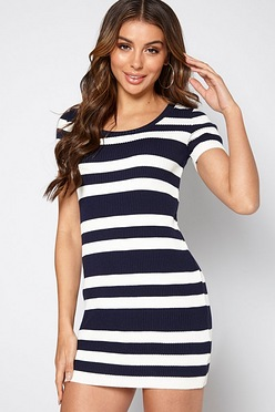 9f32e185303 Navy Striped Knitted Dress